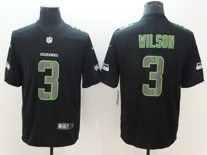 Men Seattle Seahawks 3 Wilson Nike Fashion Impact Black Color Rush Limited NFL Jerseys