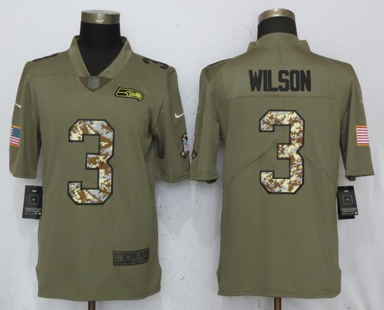 Men Seattle Seahawks 3 Wilson Olive Camo Carson Nike Salute to Service Limited NFL Jerseys