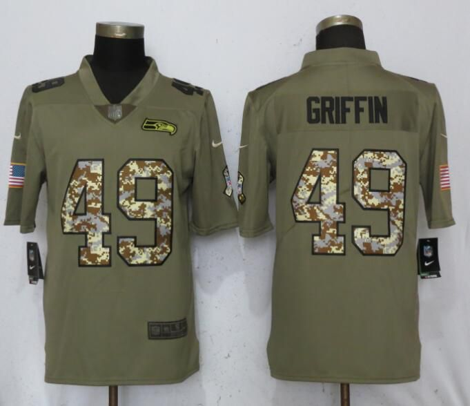 Men Seattle Seahawks 49 Griffin Olive Camo Carson Nike Salute to Service Limited NFL Jerseys