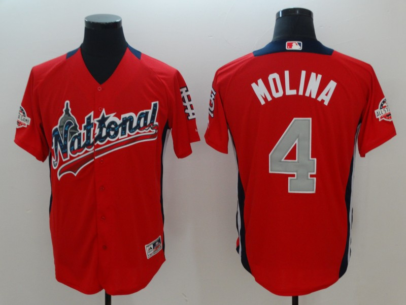 Men St.Louis Cardinals 4 Molina Orange Game 2018 All star MLB Jerseys