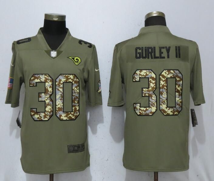 Men St.Louis Rams 30 Gurley ii Olive Camo Carson Salute to Service Limited Nike NFL Jerseys