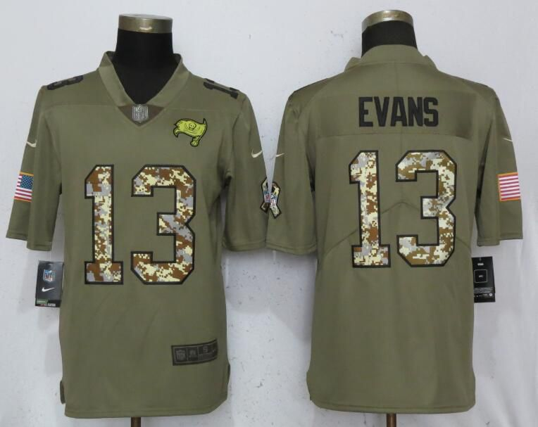 Men Tampa Bay Buccaneers 13 Evans Olive Camo Carson Nike Salute to Service Limited NFL Jerseys