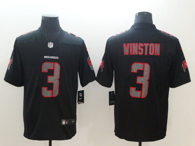 Men Tampa Bay Buccaneers 3 Winston Nike Fashion Impact Black Color Rush Limited NFL Jerseys