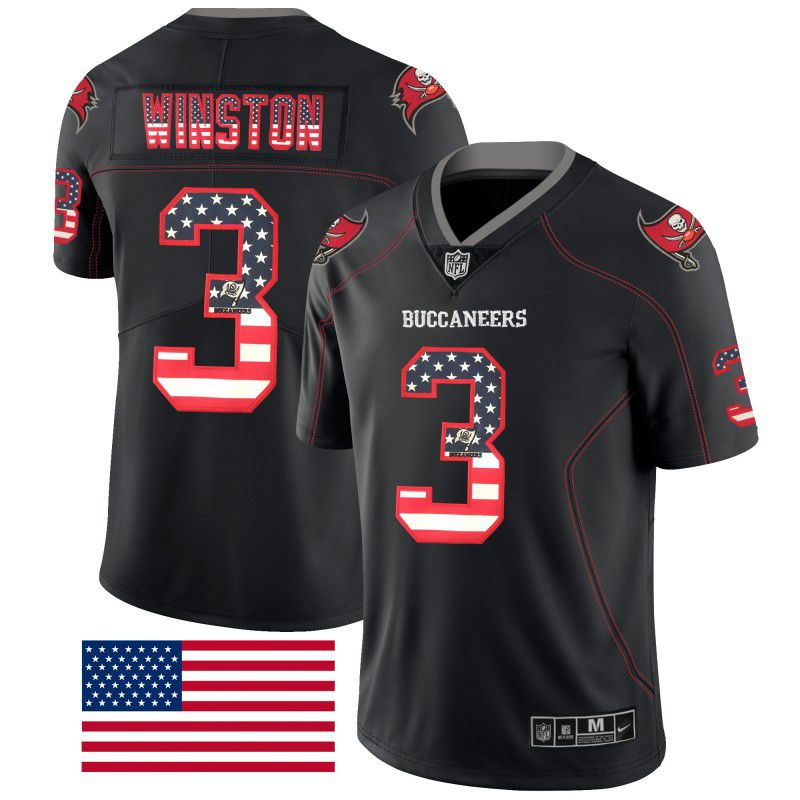 Men Tampa Bay Buccaneers 3 Winston Nike USA Flag Fashion Black Color Rush Limited NFL Jerseys
