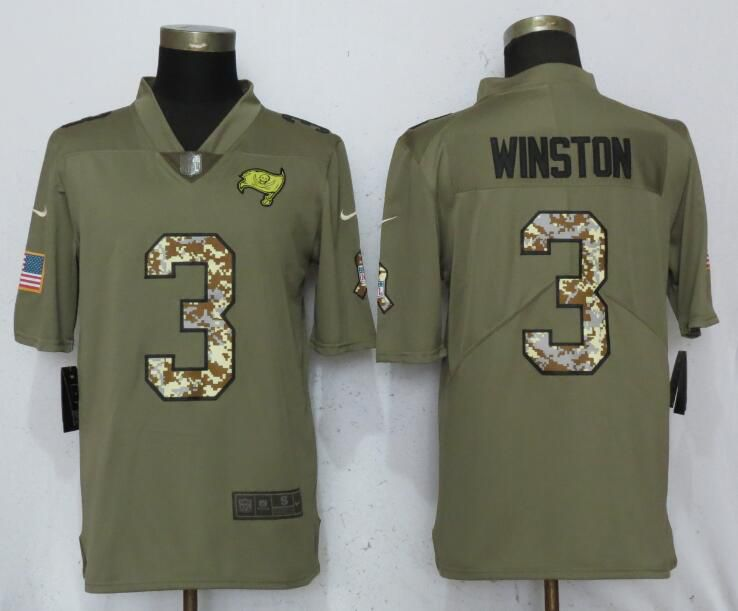 Men Tampa Bay Buccaneers 3 Winston Olive Camo Carson Nike Salute to Service Limited NFL Jerseys