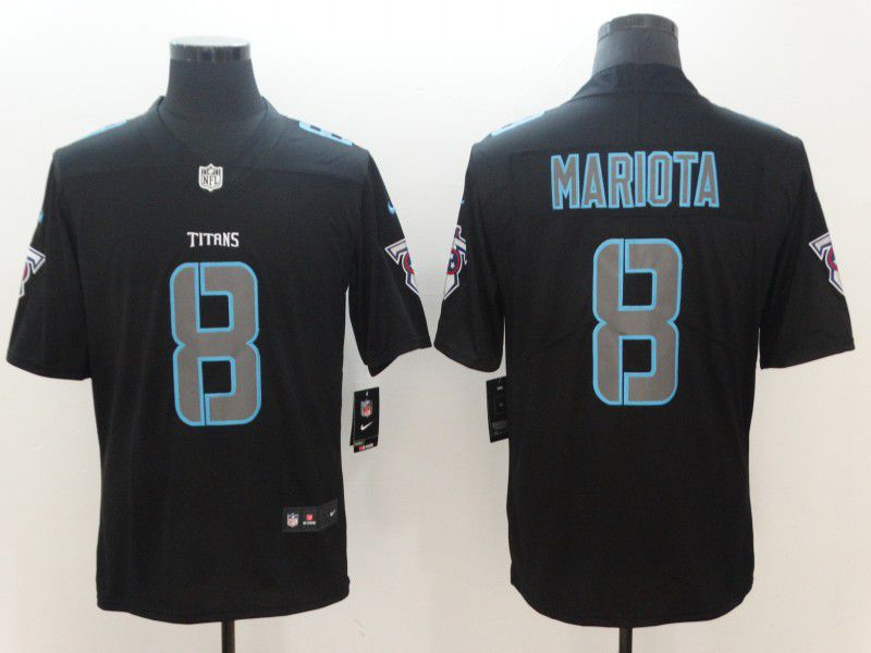 Men Tennessee Titans 8 Mariota Nike Fashion Impact Black Color Rush Limited NFL Jerseys