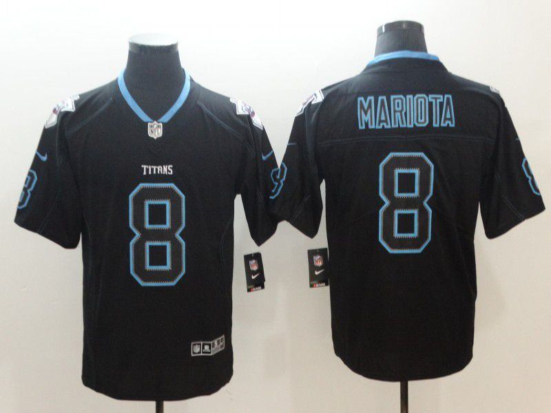 Men Tennessee Titans 8 Mariota Nike Lights Out Black Color Rush Limited NFL Jerseys