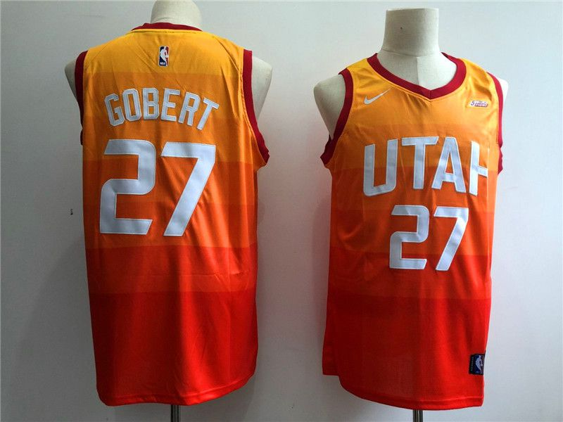 Men Utah Jazz 27 Gobert Orange City Edition Game Nike NBA Jerseys