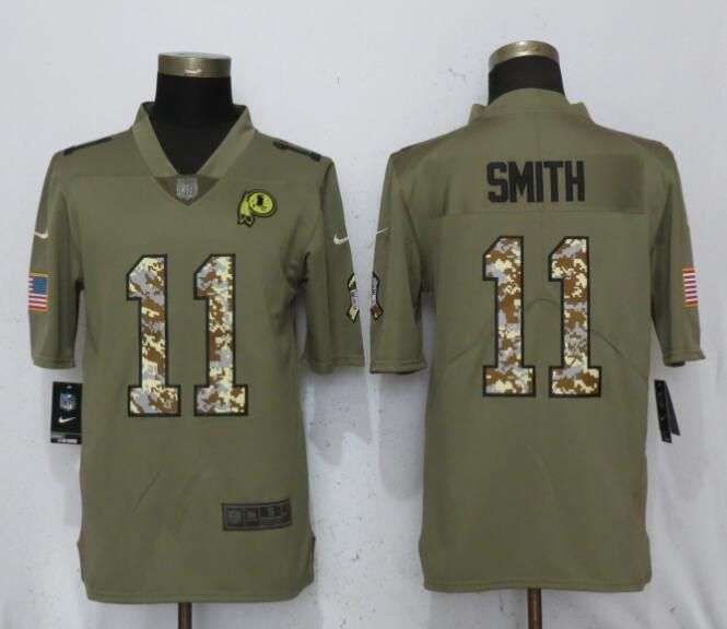 Men Washington Red Skins 11 Smith Olive Camo Carson Nike Salute to Service Limited NFL Jerseys