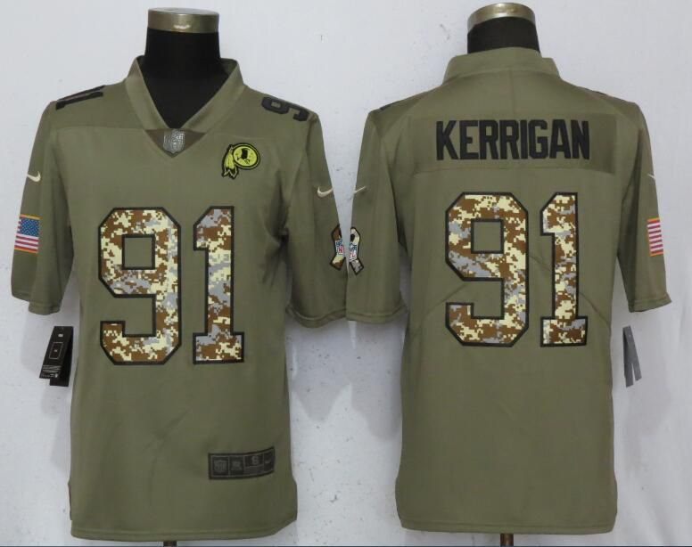 Men Washington Red Skins 91 Kerrigan Olive Camo Carson Nike Salute to Service Limited NFL Jerseys