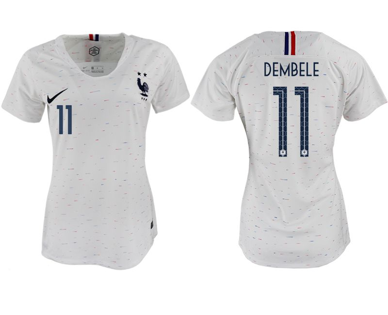 Women 2018 World Cup French away aaa version 11 white soccer jerseys