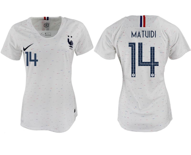 Women 2018 World Cup French away aaa version 14 white soccer jerseys