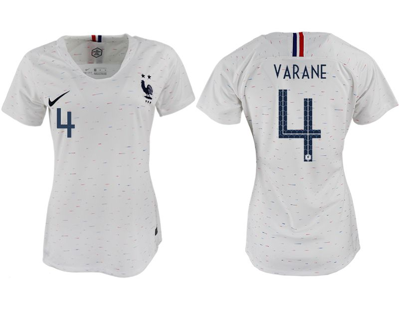 Women 2018 World Cup French away aaa version 4 white soccer jerseys