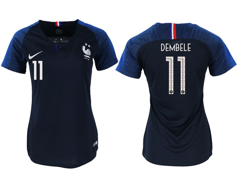 Women 2018 World Cup French home aaa version 11 blue soccer jerseys