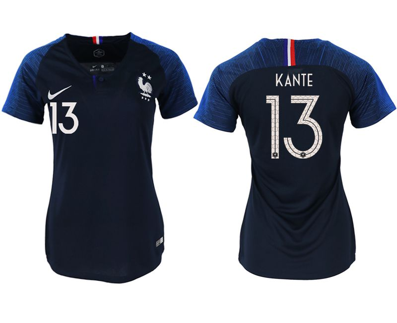 Women 2018 World Cup French home aaa version 13 blue soccer jerseys