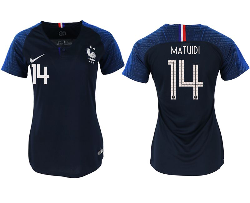 Women 2018 World Cup French home aaa version 14 blue soccer jerseys