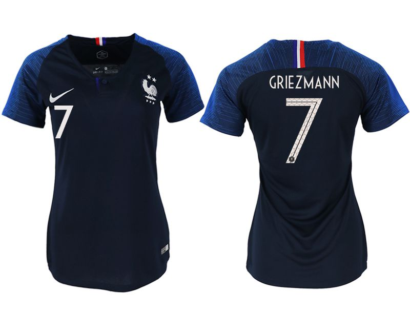 Women 2018 World Cup French home aaa version 7 blue soccer jerseys