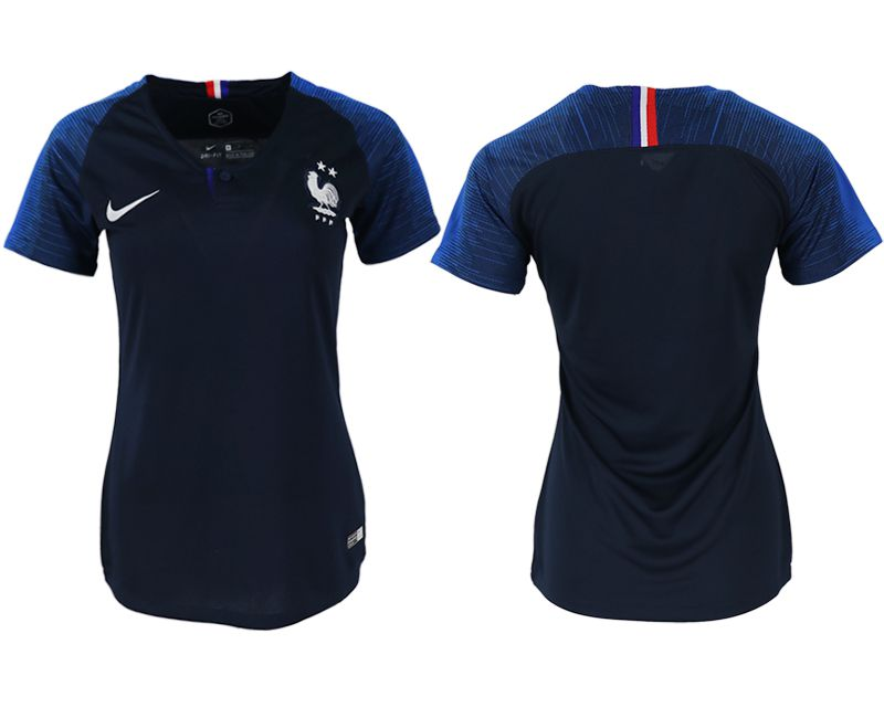 Women 2018 World Cup French home aaa version blank blue soccer jerseys
