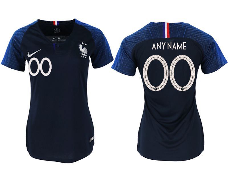 Women 2018 World Cup French home aaa version customized blue soccer jerseys