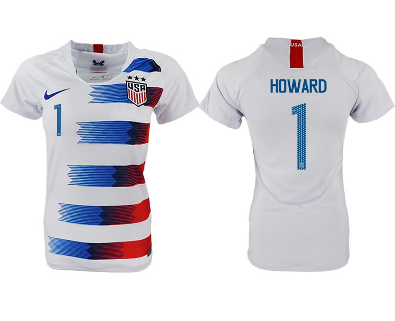 Women 2018-2019 National America home aaa 1 white soccer jersey
