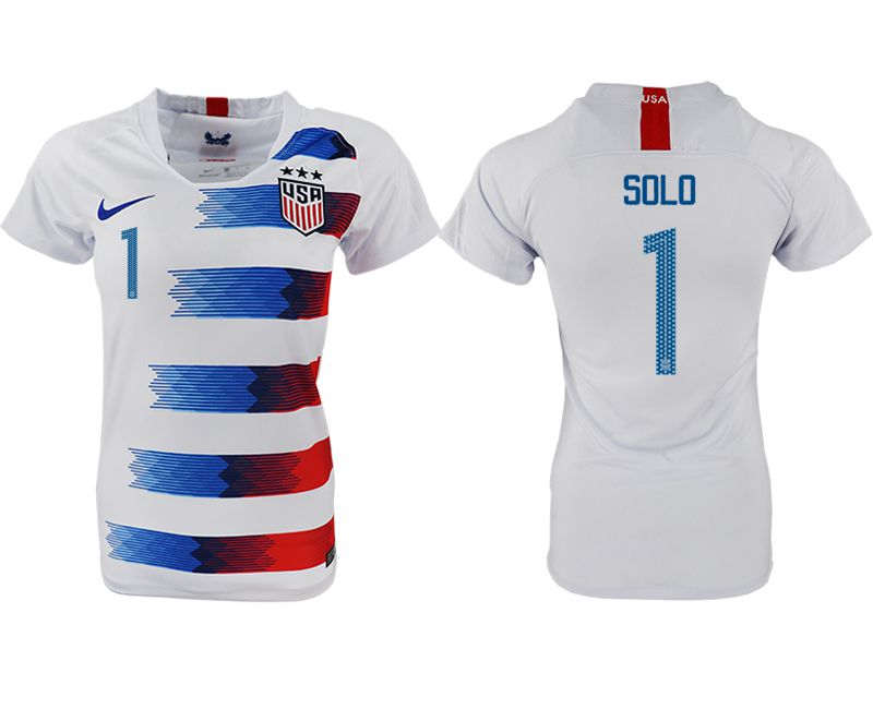 Women 2018-2019 National America home aaa 1 white soccer jersey1