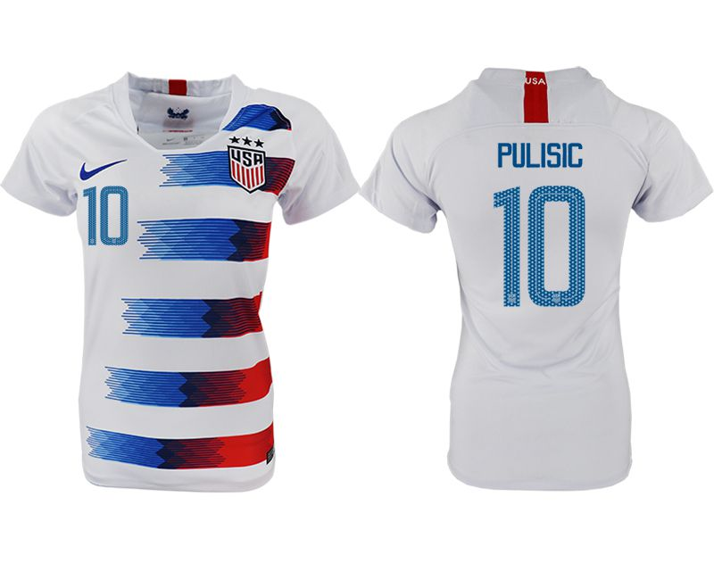 Women 2018-2019 National America home aaa 10 white soccer jersey