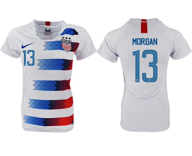 Women 2018-2019 National America home aaa 13 white soccer jersey1