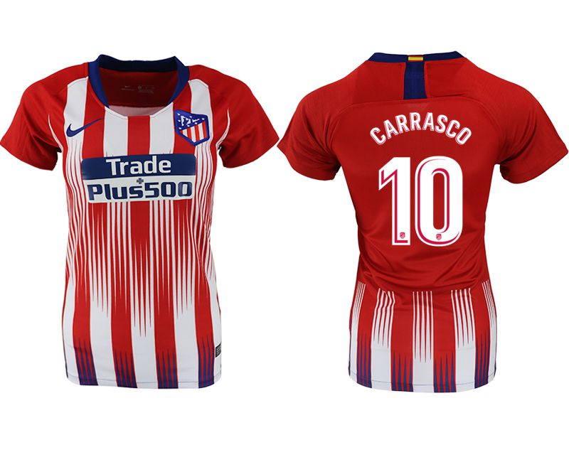 Women 2018-2019 club Atletico Madrid home aaa version 10 red soccer jersey