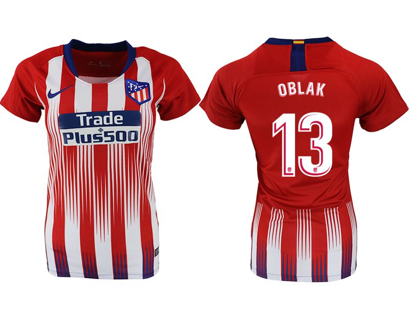Women 2018-2019 club Atletico Madrid home aaa version 13 red soccer jersey