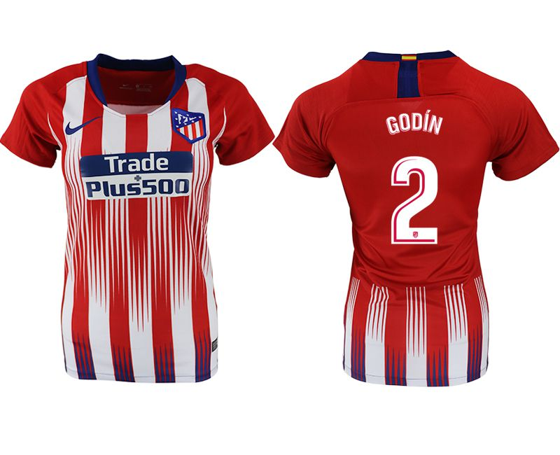 Women 2018-2019 club Atletico Madrid home aaa version 2 red soccer jersey