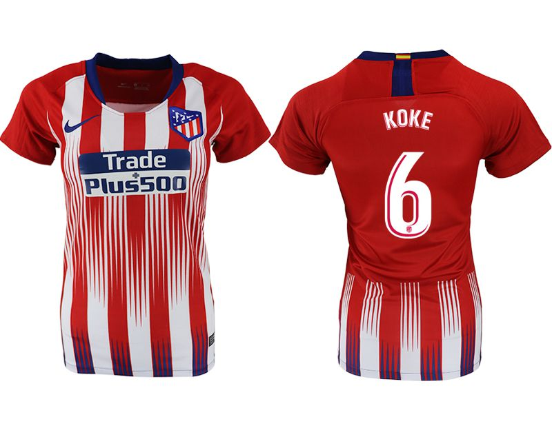 Women 2018-2019 club Atletico Madrid home aaa version 6 red soccer jersey