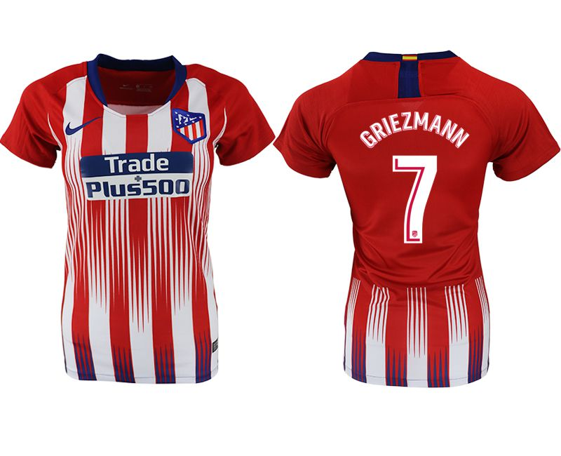 Women 2018-2019 club Atletico Madrid home aaa version 7 red soccer jersey