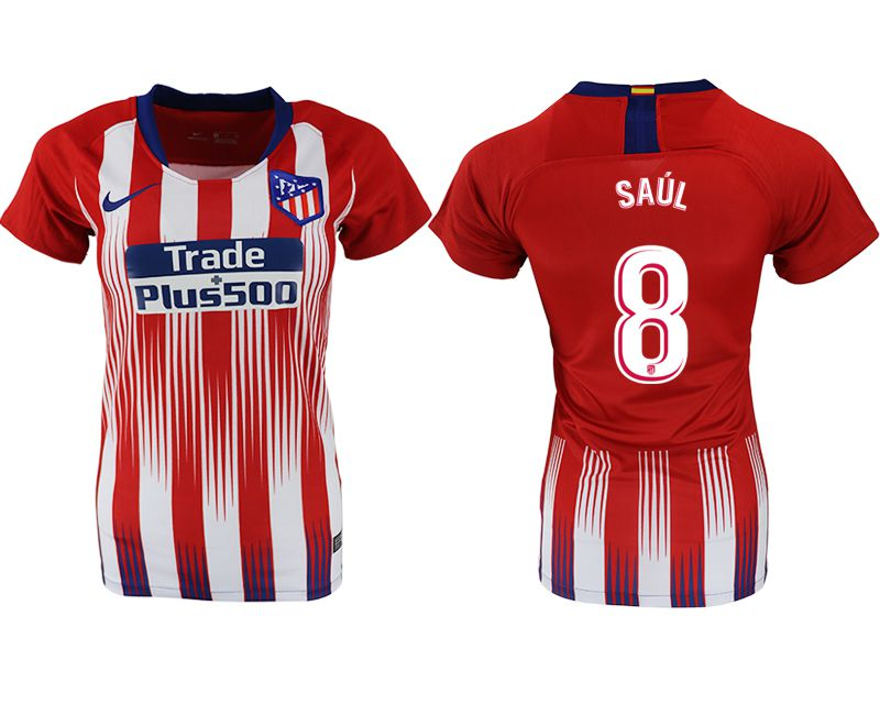 Women 2018-2019 club Atletico Madrid home aaa version 8 red soccer jersey