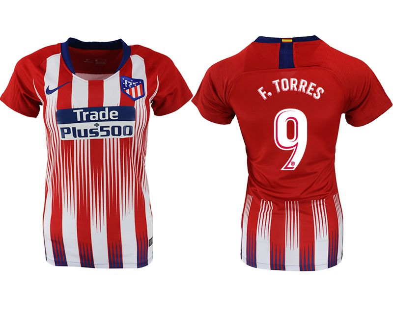 Women 2018-2019 club Atletico Madrid home aaa version 9 red soccer jersey