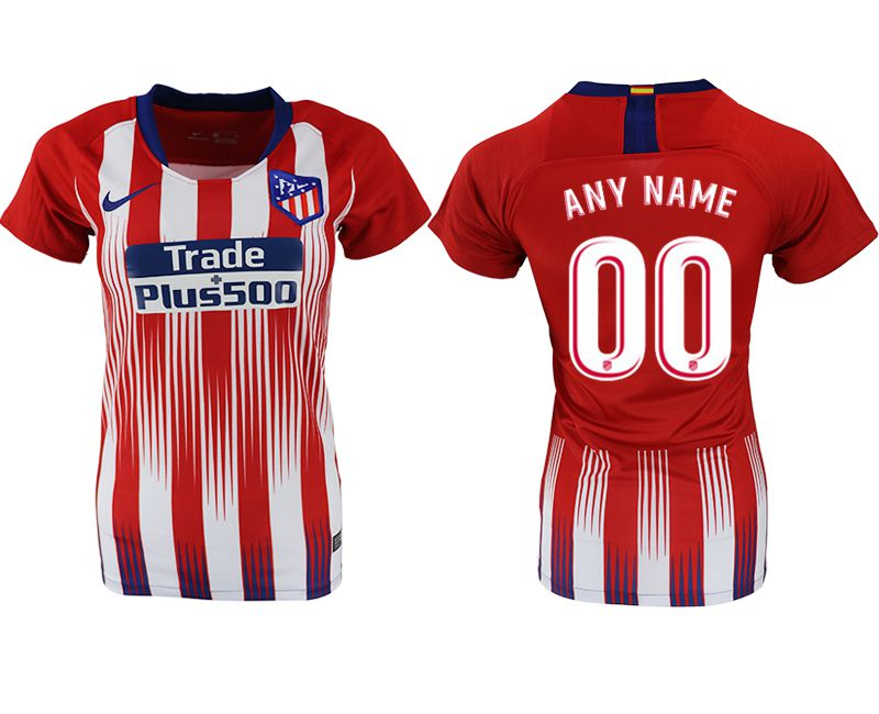 Women 2018-2019 club Atletico Madrid home aaa version customized red soccer jersey