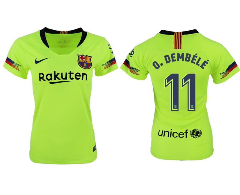 Women 2018-2019 club Barcelona away aaa version 11 fluorescent green soccer jersey