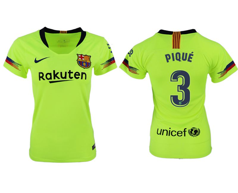 Women 2018-2019 club Barcelona away aaa version 3 fluorescent green soccer jersey