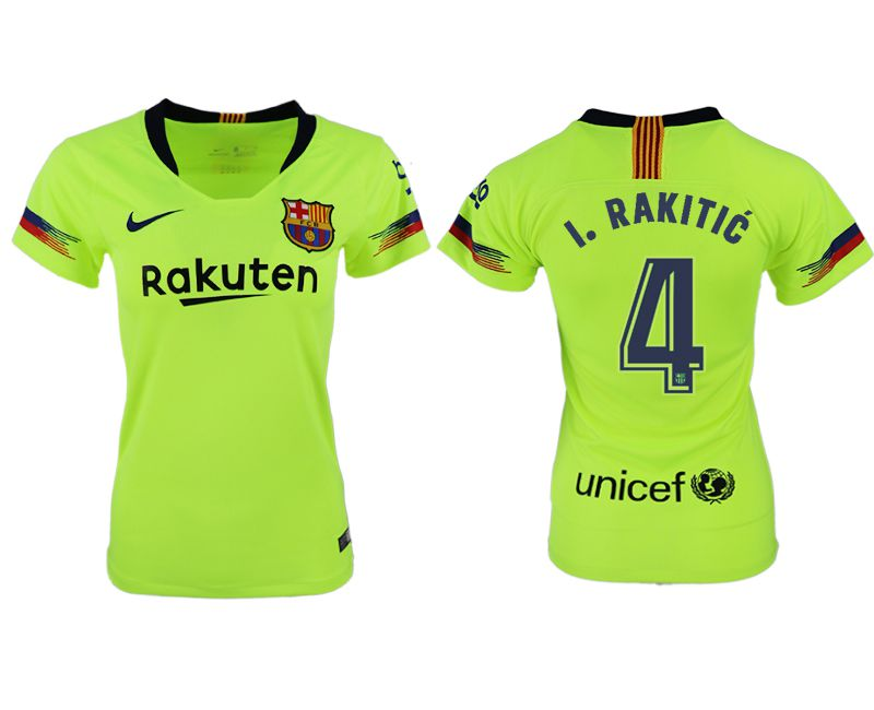 Women 2018-2019 club Barcelona away aaa version 4 fluorescent green soccer jersey