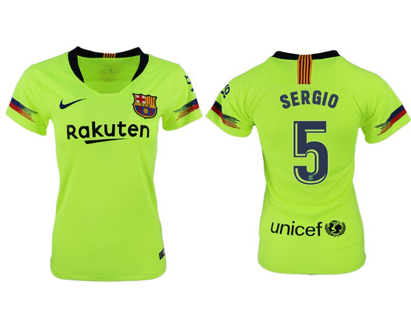 Women 2018-2019 club Barcelona away aaa version 5 fluorescent green soccer jersey