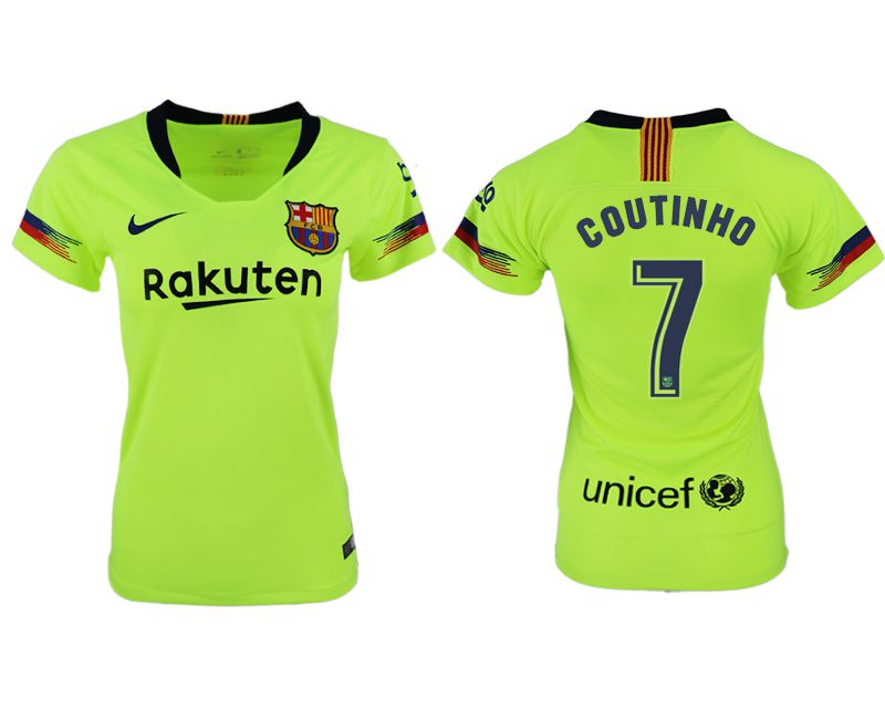 Women 2018-2019 club Barcelona away aaa version 7 fluorescent green soccer jersey