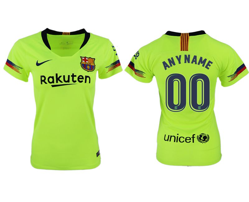 Women 2018-2019 club Barcelona away aaa version customized fluorescent green soccer jersey