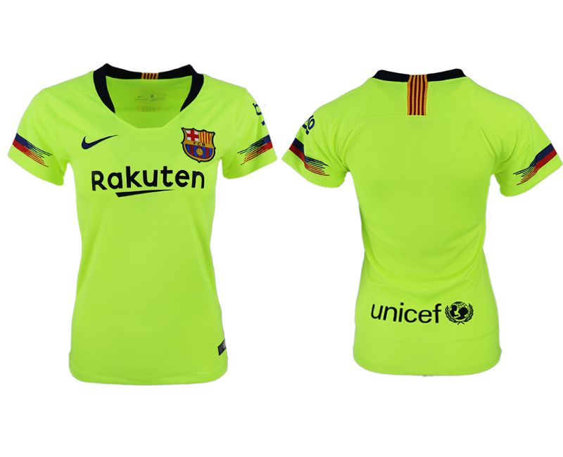 Women 2018-2019 club Barcelona away aaa version fluorescent green soccer jersey