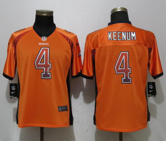 Women Denver Broncos 4 Keenum Drift Fashion Orange New Nike Elite NFL Jerseys