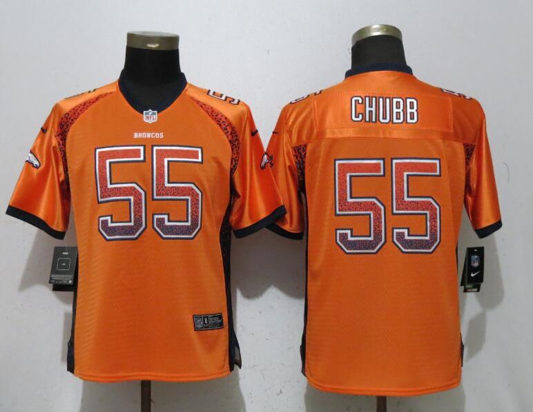 fd52c84721a Women Denver Broncos 55 Chubb Drift Fashion Orange New Nike Elite NFL  Jerseys