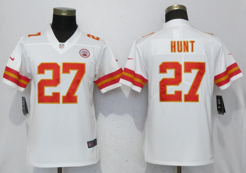 Women Kansas City Chiefs 27 Hunt White 2017 Vapor Untouchable Elite Player Nike NFL Jerseys