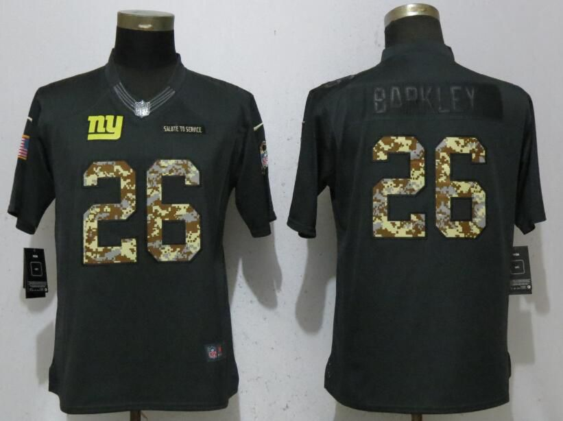 Women New York Giants 26 Barkley Anthracite Nike Salute To Service Limited NFL Jerseys