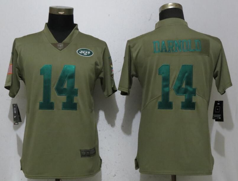 Women New York Jets 14 Darnold Grey Nike Olive Salute To Service Limited NFL Jerseys