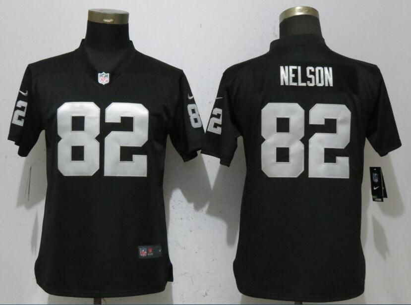 Women Oakland Raiders 82 Nelson Black Nike Vapor Untouchable Player NFL Jerseys