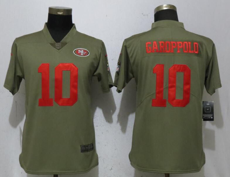 Women San Francisco 49ers 10 Garoppolo Grey Nike Olive Salute To Service Limited NFL Jerseys