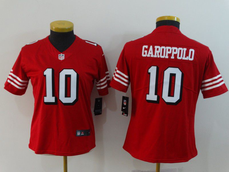 Women San Francisco 49ers 10 Garoppolo Red Nike Vapor Untouchable Limited NFL Jerseys